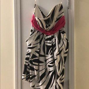 Black/White/Pink  Stripped Strapless Dress